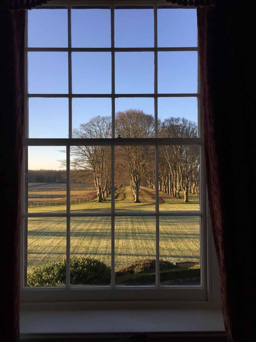 Lucknam Park, five star luxury hotel near Bath. View onto the tree-lined alley