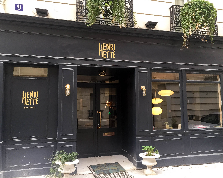 Hotel Henriette, Paris. The facade in navy blue.