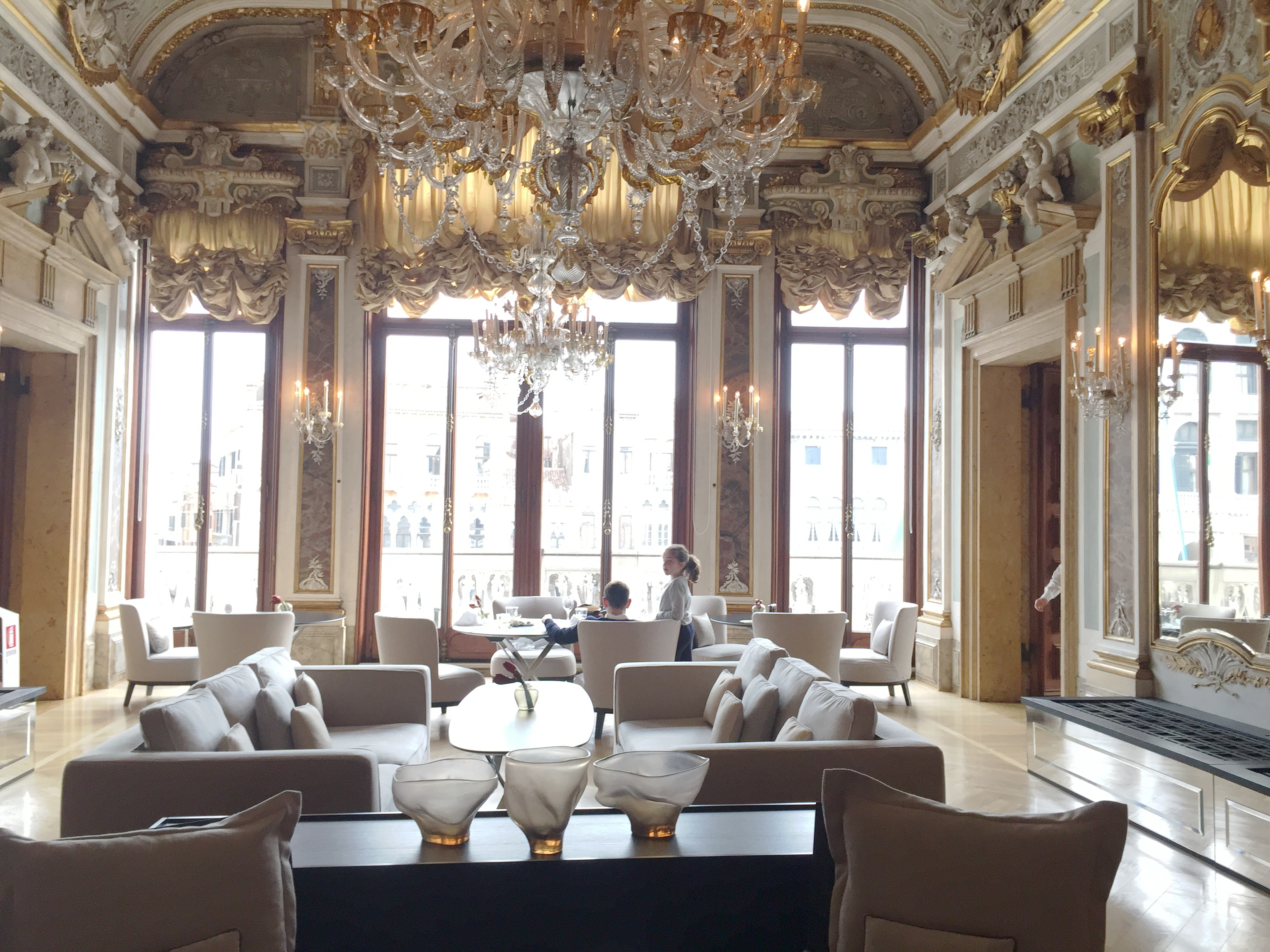 Aman Venice, the magnificient main room where you can have lunch and where George Clooney had his wedding ceremony_