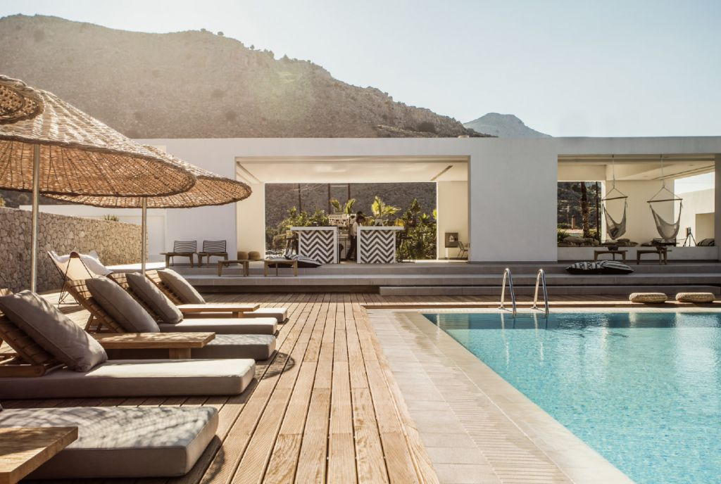 Casa Cook in Rhodes, one of the boutique hotels with pool in Greece to discover in this post. #hotelwithpool #greece #boutiquehotel